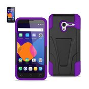 REIKO ALCATEL ONETOUCH PIXI 3 HYBRID HEAVY DUTY CASE WITH KICKSTAND IN PURPLE BLACK