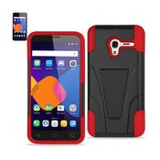 REIKO ALCATEL ONETOUCH PIXI 3 HYBRID HEAVY DUTY CASE WITH KICKSTAND IN RED BLACK