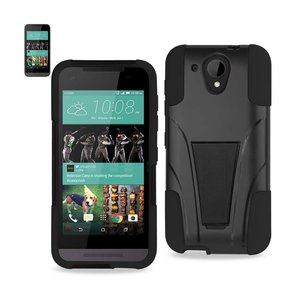 REIKO HTC DESIRE 520 HYBRID HEAVY DUTY CASE WITH KICKSTAND IN BLACK
