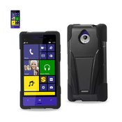 REIKO HTC 8XT HYBRID HEAVY DUTY CASE WITH KICKSTAND IN BLACK