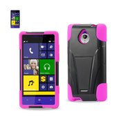 REIKO HTC 8XT HYBRID HEAVY DUTY CASE WITH KICKSTAND IN HOT PINK BLACK