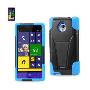 REIKO HTC 8XT HYBRID HEAVY DUTY CASE WITH KICKSTAND IN NAVY BLACK