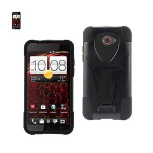 REIKO HTC DROID DNA HYBRID HEAVY DUTY CASE WITH KICKSTAND IN BLACK
