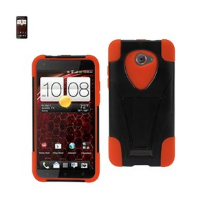 REIKO HTC DROID DNA HYBRID HEAVY DUTY CASE WITH KICKSTAND IN BLACK ORANGE