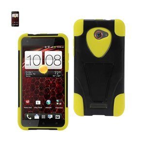 REIKO HTC DROID DNA HYBRID HEAVY DUTY CASE WITH KICKSTAND IN BLACK YELLOW