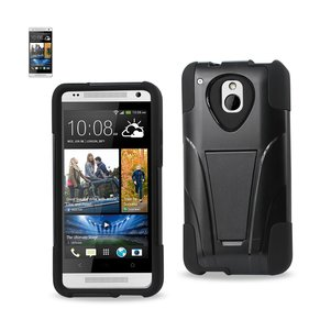 REIKO HTC ONE MINI M4 HYBRID HEAVY DUTY CASE WITH KICKSTAND IN BLACK
