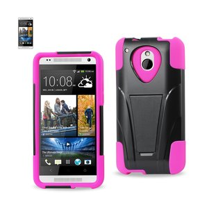 REIKO HTC ONE MINI M4 HYBRID HEAVY DUTY CASE WITH KICKSTAND IN HOT PINK BLACK