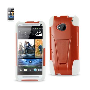 REIKO HTC ONE M7 HYBRID HEAVY DUTY CASE WITH KICKSTAND IN ORANGE WHITE