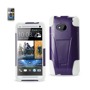 REIKO HTC ONE M7 HYBRID HEAVY DUTY CASE WITH KICKSTAND IN PURPLE WHITE