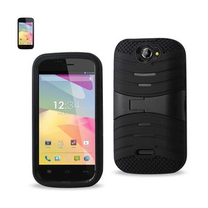 REIKO BLU ADVANCE 4.0 HYBRID HEAVY DUTY ANTI SLIP CASE WITH KICKSTAND IN BLACK