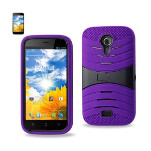 REIKO BLU STUDIO 5.0 HYBRID HEAVY DUTY ANTI SLIP CASE WITH KICKSTAND IN PURPLE BLACK
