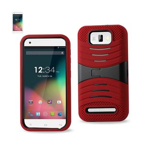 REIKO BLU STUDIO 5.5 HYBRID HEAVY DUTY ANTI SLIP CASE WITH KICKSTAND IN RED BLACK