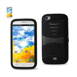 REIKO BLU LIFE VIEW HYBRID HEAVY DUTY ANTI SLIP CASE WITH KICKSTAND IN BLACK