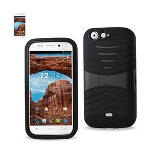 REIKO BLU LIFE ONE HYBRID HEAVY DUTY ANTI SLIP CASE WITH KICKSTAND IN BLACK