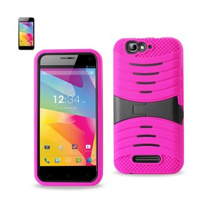 REIKO BLU LIFE PRO HYBRID HEAVY DUTY ANTI SLIP CASE WITH KICKSTAND IN HOT PINK BLACK