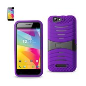 REIKO BLU LIFE PRO HYBRID HEAVY DUTY ANTI SLIP CASE WITH KICKSTAND IN PURPLE BLACK
