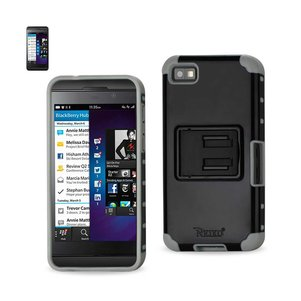 REIKO BLACKBERRY Z10 HYBRID HEAVY DUTY CASE WITH HORIZONTAL KICKSTAND IN BLACK