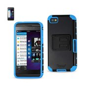 REIKO BLACKBERRY Z10 HYBRID HEAVY DUTY CASE WITH HORIZONTAL KICKSTAND IN NAVY BLACK