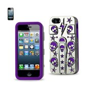 REIKO IPHONE SE/ 5S/ 5 HYBRID SKULLS CASE WITH KICKSTAND IN PURPLE