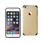 REIKO IPHONE 6 PLUS/ 6S PLUS RUGGED METAL TEXTURE HYBRID CASE WITH RIDGED BACK IN BLACK GOLD