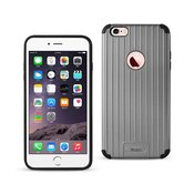 Reiko iPhone 6S Plus/ 6 Plus Rugged Metal Texture Hybrid Case With Ridged Back In Black Gray