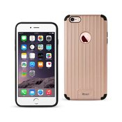 REIKO IPHONE 6 PLUS/ 6S PLUS RUGGED METAL TEXTURE HYBRID CASE WITH RIDGED BACK IN BLACK ROSE GOLD