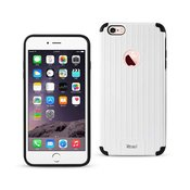 Reiko iPhone 6S Plus/ 6 Plus Rugged Metal Texture Hybrid Case With Ridged Back In Black White
