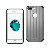 REIKO IPHONE 7 PLUS RUGGED METAL TEXTURE HYBRID CASE WITH RIDGED BACK IN BLACK GRAY