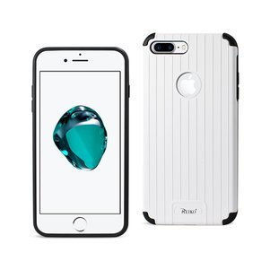 Reiko iPhone 8 Plus/ 7 Plus Rugged Metal Texture Hybrid Case With Ridged Back In Black White