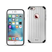 REIKO IPHONE 6S/ IPHONE 6 RUGGED METAL TEXTURE HYBRID CASE WITH RIDGED BACK IN BLACK SILVER