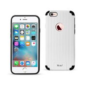 REIKO IPHONE 6S/ IPHONE 6 RUGGED METAL TEXTURE HYBRID CASE WITH RIDGED BACK IN BLACK WHITE