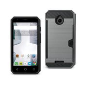 REIKO ALCATEL DAWN/ STREAK SLIM ARMOR HYBRID CASE WITH CARD HOLDER IN GRAY