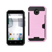 REIKO ALCATEL DAWN/ STREAK SLIM ARMOR HYBRID CASE WITH CARD HOLDER IN PINK