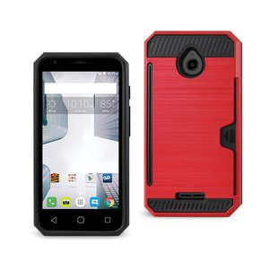REIKO ALCATEL DAWN/ STREAK SLIM ARMOR HYBRID CASE WITH CARD HOLDER IN RED