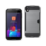 REIKO ALCATEL ONE TOUCH IDOL 4 SLIM ARMOR HYBRID CASE WITH CARD HOLDER IN GRAY