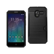 REIKO ALCATEL TRU SLIM ARMOR HYBRID CASE WITH CARD HOLDER IN BLACK