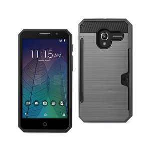 REIKO ALCATEL TRU SLIM ARMOR HYBRID CASE WITH CARD HOLDER IN GRAY