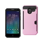 REIKO ALCATEL TRU SLIM ARMOR HYBRID CASE WITH CARD HOLDER IN PINK