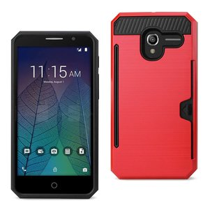 REIKO ALCATEL TRU SLIM ARMOR HYBRID CASE WITH CARD HOLDER IN RED