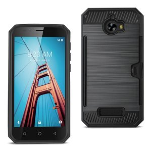 REIKO COOLPAD DEFIANT SLIM ARMOR HYBRID CASE WITH CARD HOLDER IN BLACK