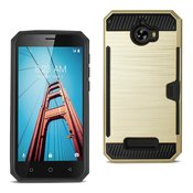 REIKO COOLPAD DEFIANT SLIM ARMOR HYBRID CASE WITH CARD HOLDER IN GOLD