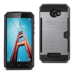 REIKO COOLPAD DEFIANT SLIM ARMOR HYBRID CASE WITH CARD HOLDER IN GRAY
