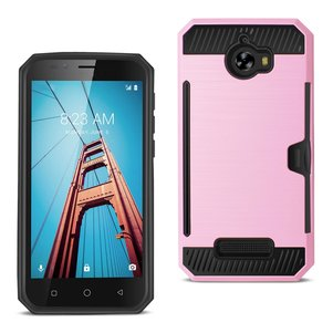 REIKO COOLPAD DEFIANT SLIM ARMOR HYBRID CASE WITH CARD HOLDER IN PINK