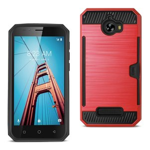 REIKO COOLPAD DEFIANT SLIM ARMOR HYBRID CASE WITH CARD HOLDER IN RED
