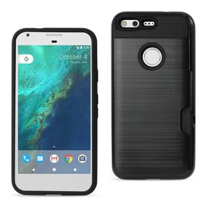 REIKO GOOGLE PIXEL SLIM ARMOR HYBRID CASE WITH CARD HOLDER IN BLACK