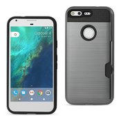 REIKO GOOGLE PIXEL SLIM ARMOR HYBRID CASE WITH CARD HOLDER IN GRAY