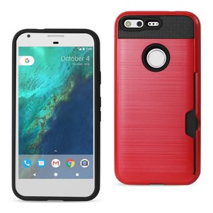 REIKO GOOGLE PIXEL SLIM ARMOR HYBRID CASE WITH CARD HOLDER IN RED