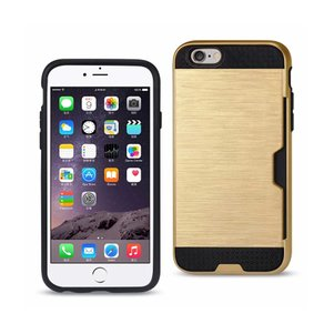 Reiko iPhone 6S Plus/ 6 Plus Slim Armor Hybrid Case With Card Holder In Gold