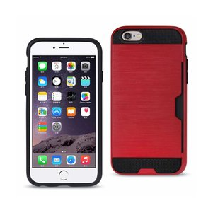 REIKO IPHONE 6 PLUS SLIM ARMOR HYBRID CASE WITH CARD HOLDER IN RED