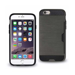 REIKO IPHONE 6 SLIM ARMOR HYBRID CASE WITH CARD HOLDER IN GRAY